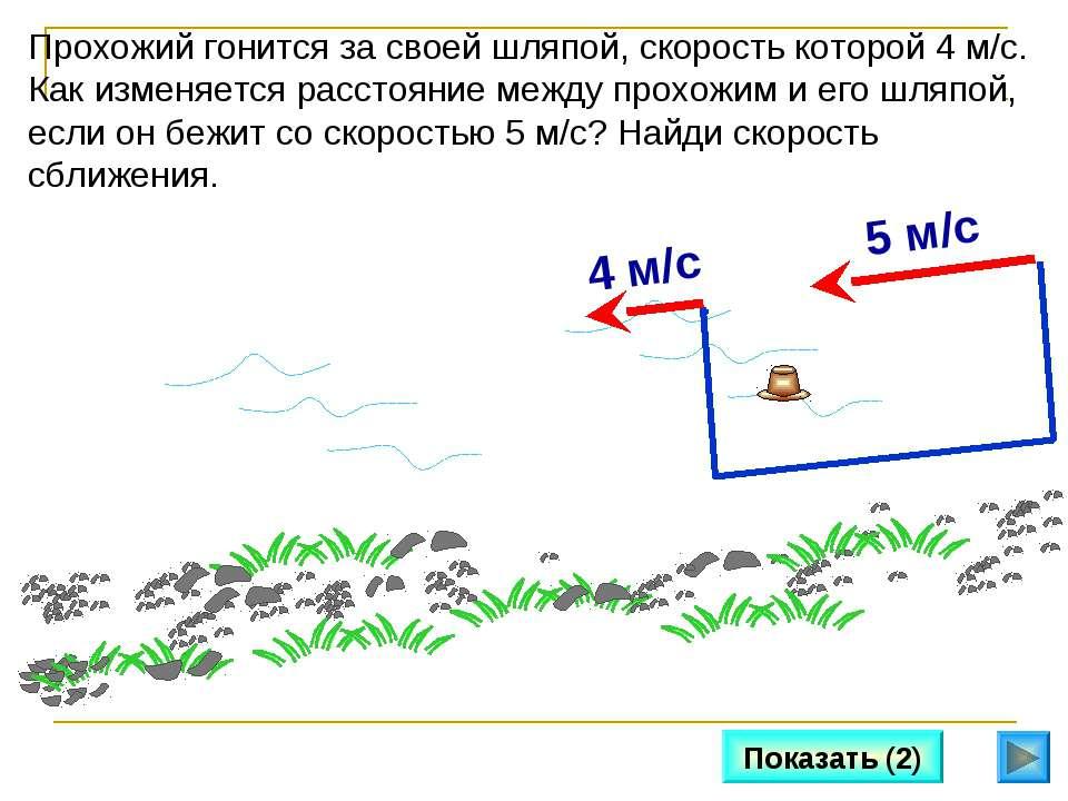 Показать (2) Прохожий гонится за своей шляпой, скорость которой 4 м/с. Как из...