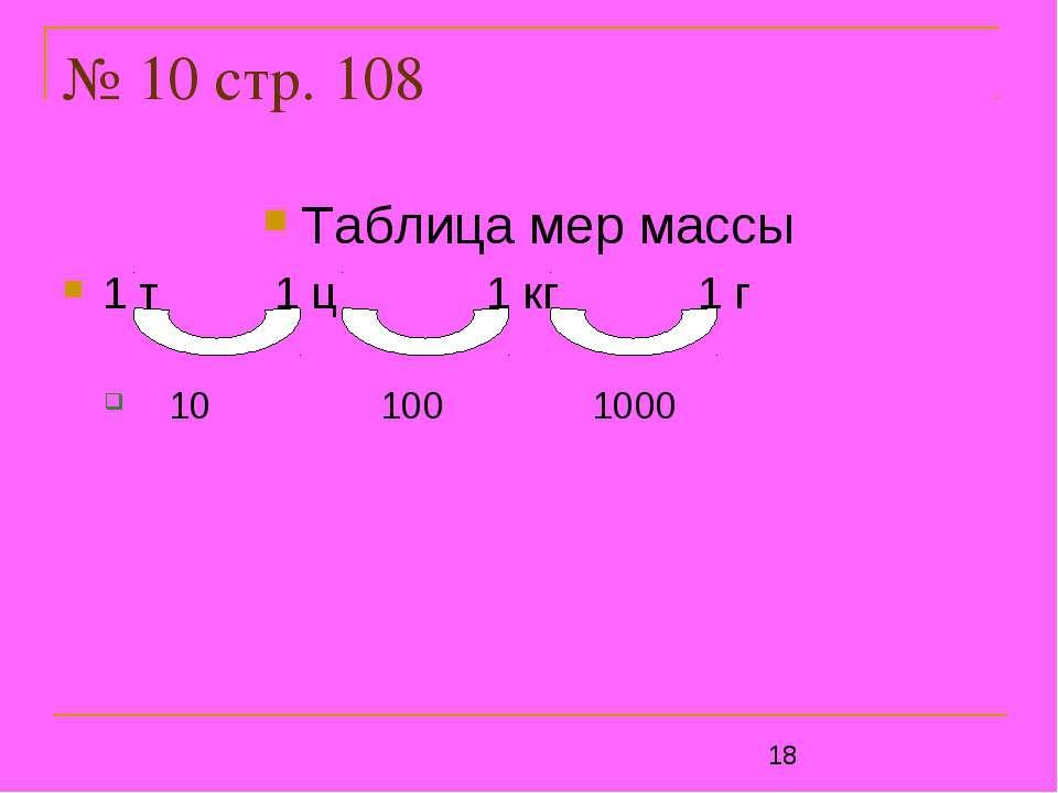 № 10 стр. 108 Таблица мер массы 1 т 1 ц 1 кг 1 г 10 100 1000