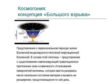 Космогония: концепция «Большого взрыва» Представления о первоначальном период...