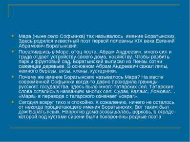 Мара (ныне село Софьинка) так называлось имение Боратынских. Здесь родился из...