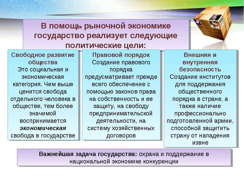 В помощь рыночной экономике государство реализует следующие политические цели...