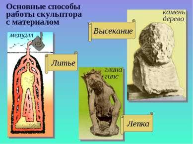 Основные способы работы скульптора с материалом камень дерево металл глина гипс