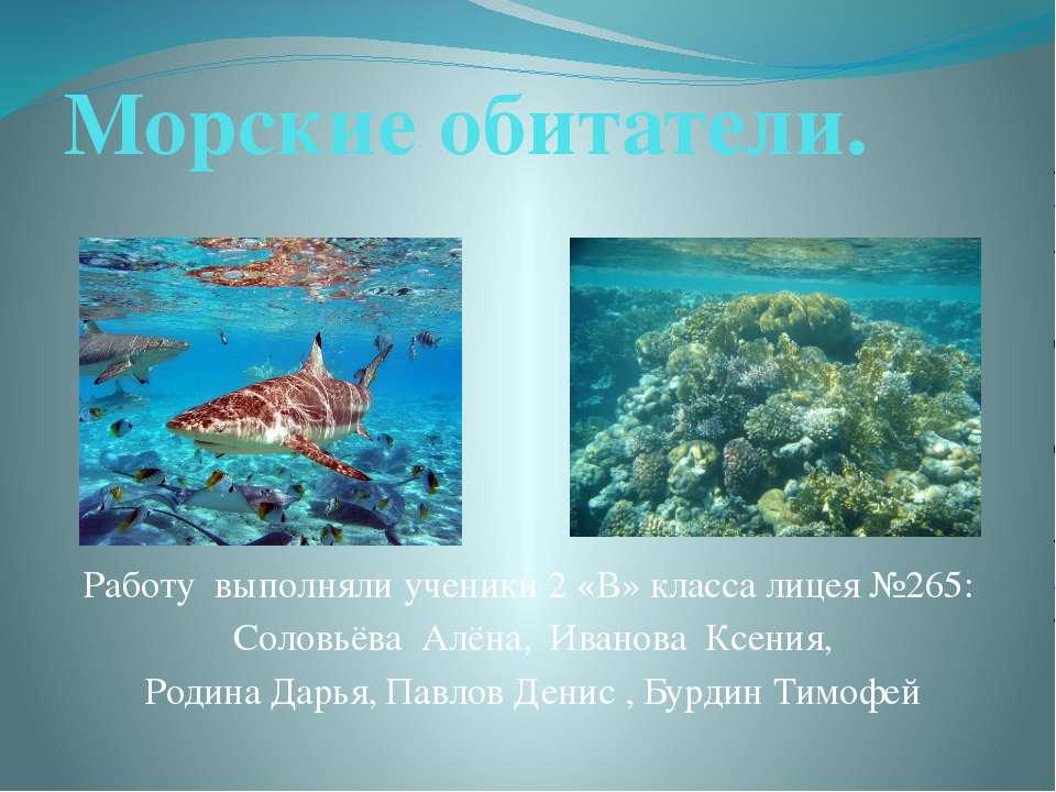Морские обитатели. Работу выполняли ученики 2 «В» класса лицея №265: Соловьёв...