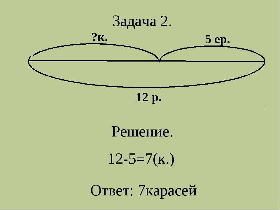 12 р. ?к. 5 ер. Задача 2. Решение. 12-5=7(к.) Ответ: 7карасей.