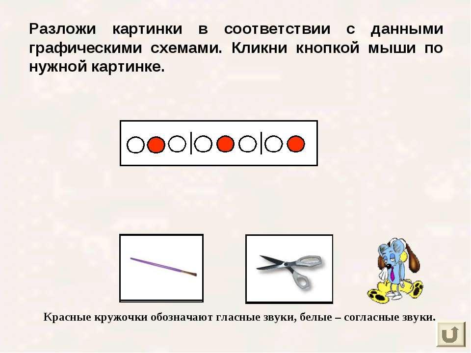 Разложи картинки в соответствии с данными графическими схемами. Кликни кнопко...
