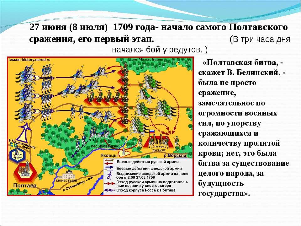 27 июня (8 июля) 1709 года- начало самого Полтавского сражения, его первый э...