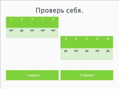1 вариант 2 вариант 1 3 5 7 9 нет да нет нет нет 2 4 6 8 10 да нет да нет да