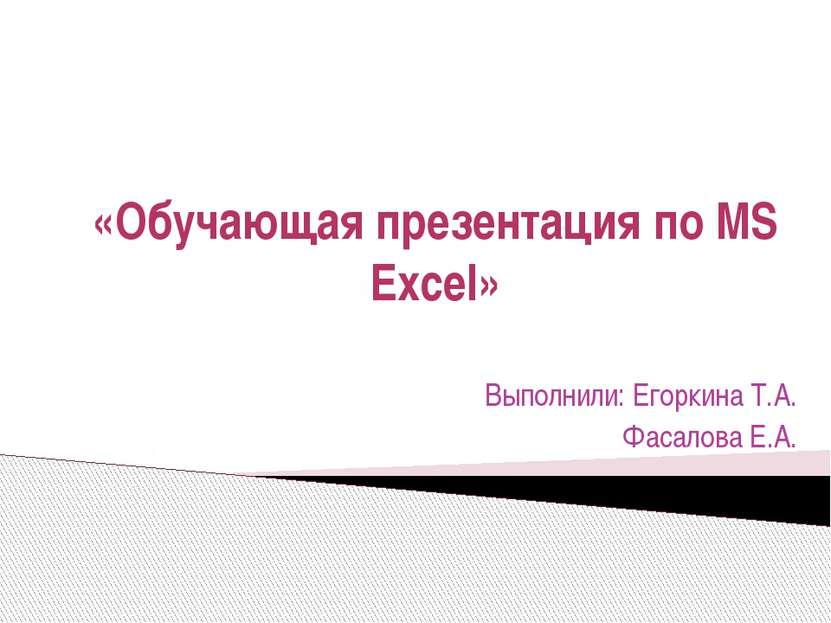 «Обучающая презентация по MS Excel» Выполнили: Егоркина Т.А. Фасалова Е.А.