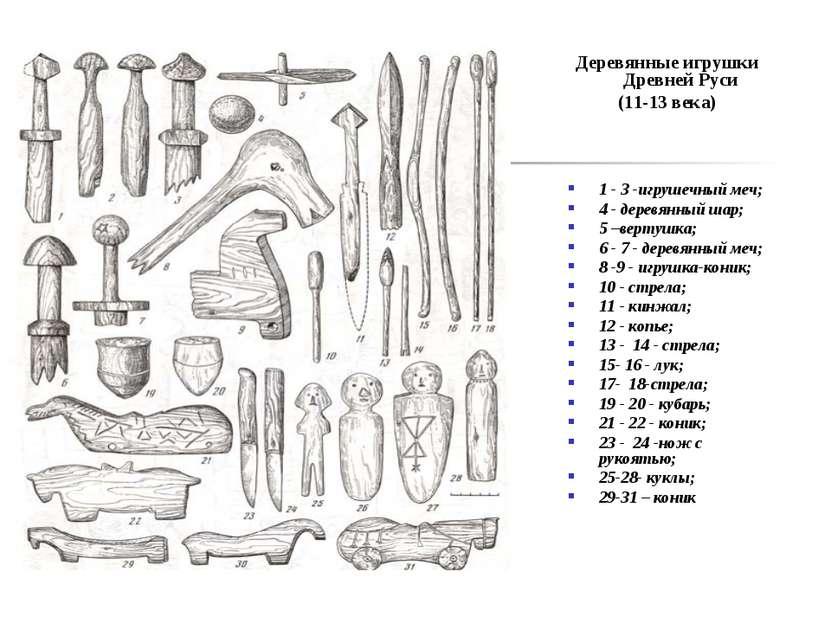 Деревянные игрушки Древней Руси (11-13 века) 1 - 3 -игрушечный меч; 4 - дерев...