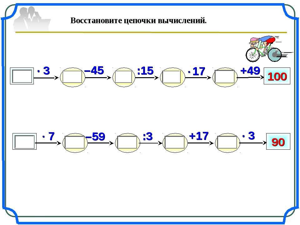 –59 100 +49 :15 –45 +17 90 :3 Восстановите цепочки вычислений.
