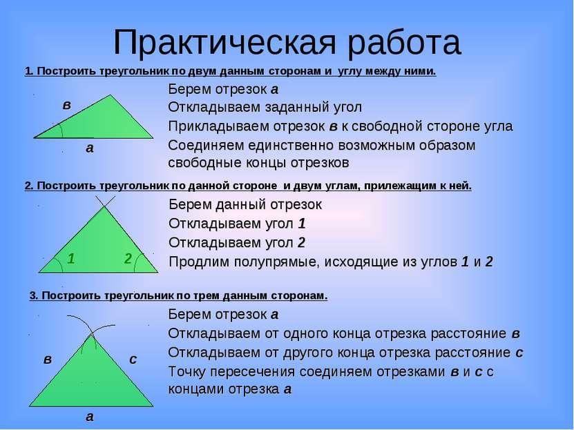 Практическая работа 1. Построить треугольник по двум данным сторонам и углу м...