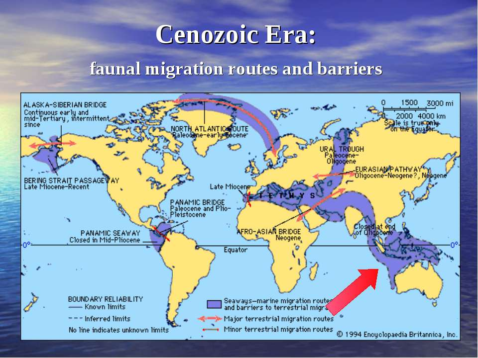 Cenozoic Era: faunal migration routes and barriers
