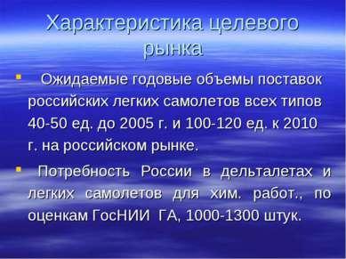 Характеристика целевого рынка Ожидаемые годовые объемы поставок российских ле...