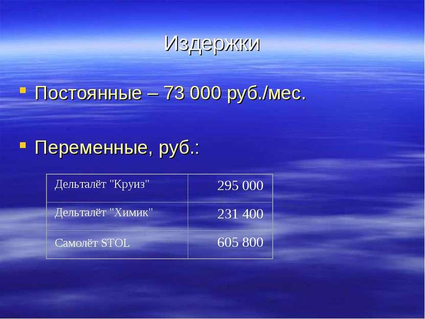 Издержки Постоянные – 73 000 руб./мес. Переменные, руб.: