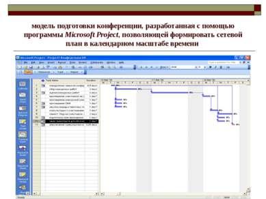модель подготовки конференции, разработанная с помощью программы Microsoft Pr...