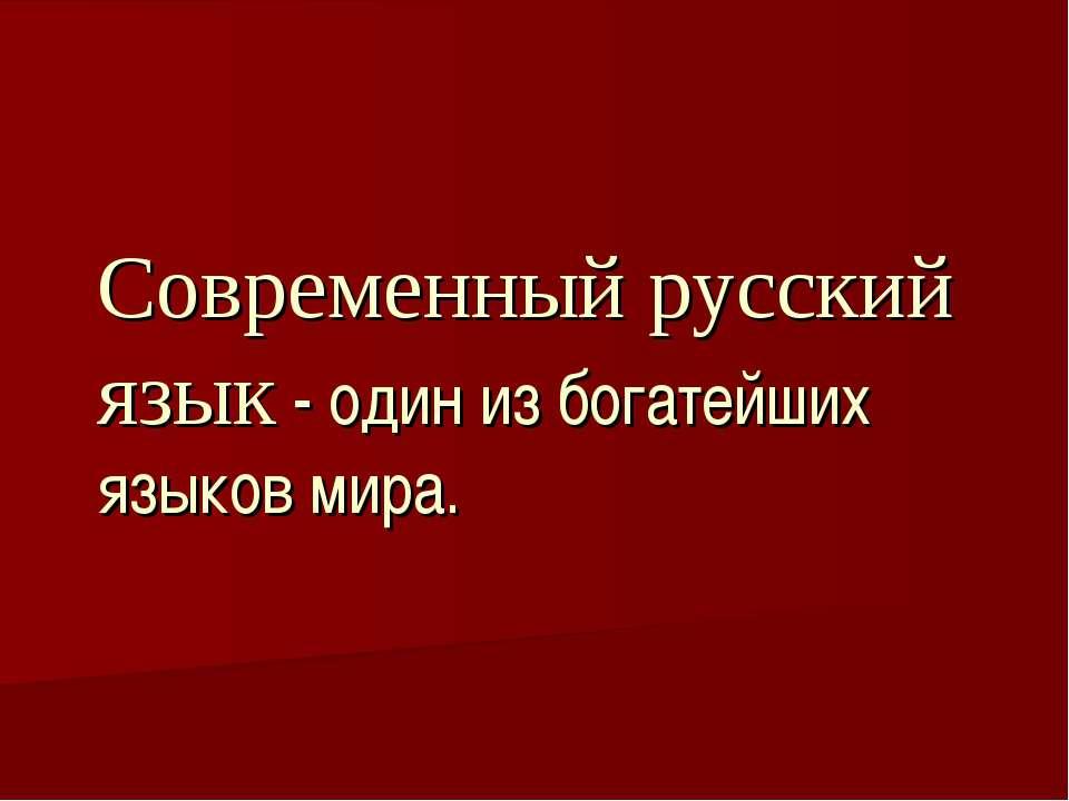 Современный русский язык - один из богатейших языков мира.
