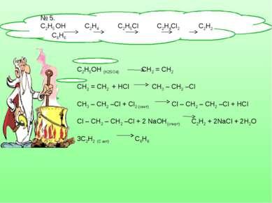 № 5. С2Н5 OH С2Н4 C2H5Cl C2H4Cl2 C2H2 C6H6 C2H5OH (H2SO4) СН2 = СН2 СН2 = СН2...