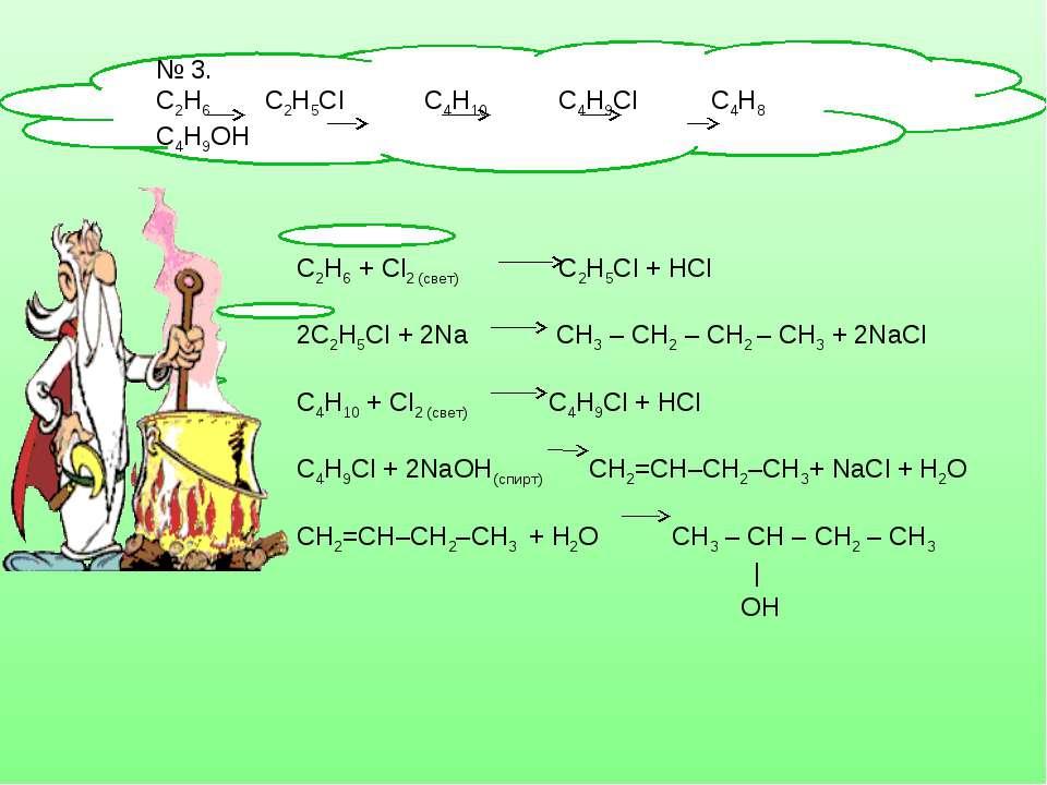 № 3. С2Н6 С2Н5Сl C4H10 C4H9Cl C4H8 C4H9OH C2H6 + Cl2 (свет) С2Н5Сl + HCl 2С2Н...