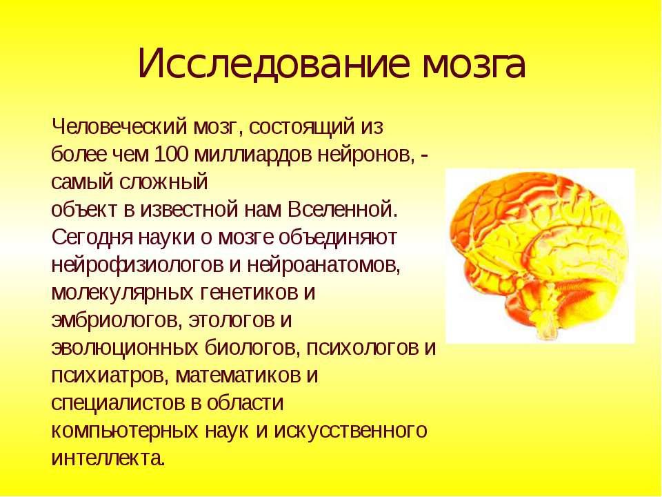 Исследование мозга Человеческий мозг, состоящий из более чем 100 миллиардов н...