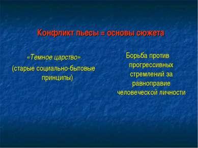 Конфликт пьесы = основы сюжета «Темное царство» (старые социально-бытовые при...