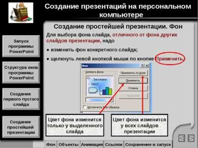 Цвет фона изменится только у выделенного слайда Цвет фона изменится у всех сл...
