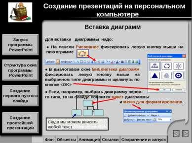 Вставка диаграмм Сюда мы можем вписать любой текст Для вставки диаграммы надо...