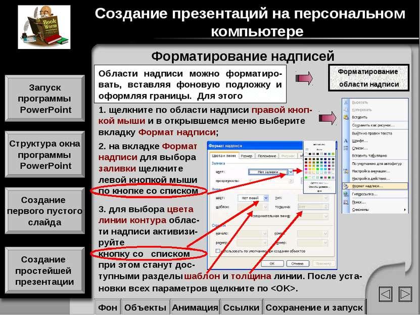 Форматирование надписей Создание презентаций на персональном компьютере Запус...