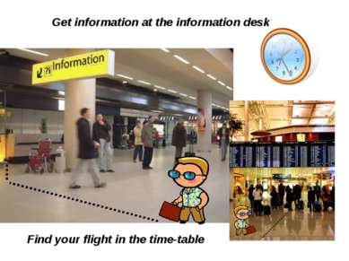 Get information at the information desk Find your flight in the time-table