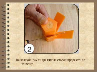 На каждой из 5-ти срезанных сторон прорезать по лепестку