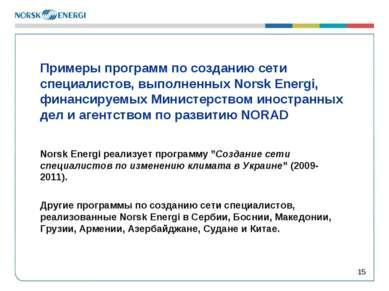 * Примеры программ по созданию сети специалистов, выполненных Norsk Energi, ф...