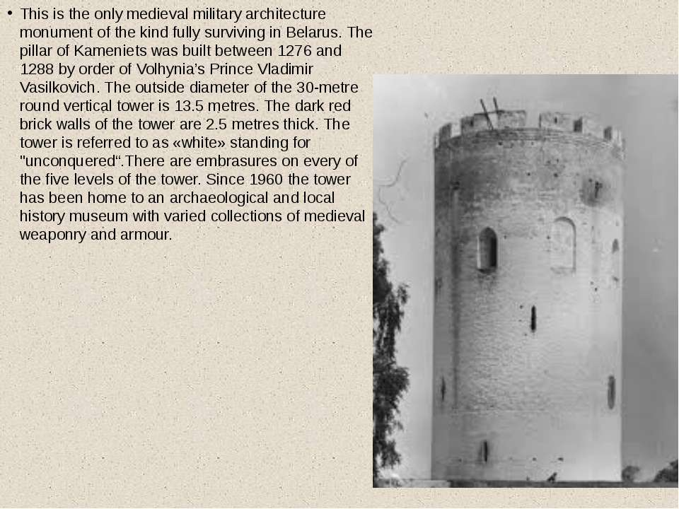 This is the only medieval military architecture monument of the kind fully su...