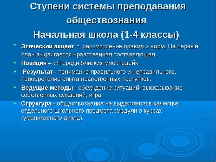 Ступени системы преподавания обществознания Начальная школа (1-4 классы) Этич...
