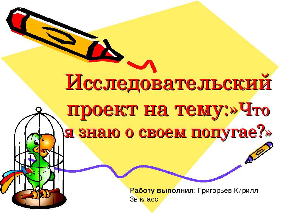 Исследовательский проект на тему:»Что я знаю о своем попугае?» Работу выполни...