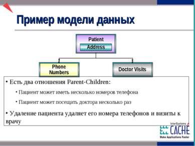 Пример модели данных Phone Numbers Doctor Visits Есть два отношения Parent-Ch...