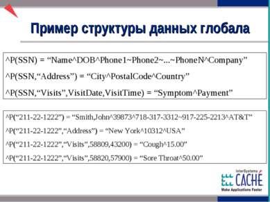 "^P(SSN) = ""Name^DOB^Phone1~Phone2~...~PhoneN^Company"" ^P(SSN,""Address"") = ""Ci..."