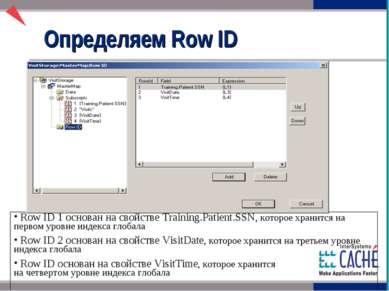 Определяем Row ID Row ID 1 основан на свойстве Training.Patient.SSN, которое ...