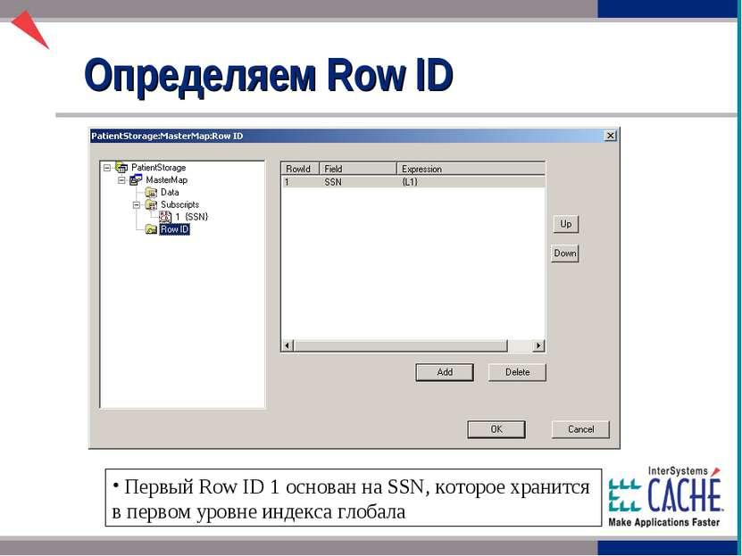 Определяем Row ID Первый Row ID 1 основан на SSN, которое хранится в первом у...