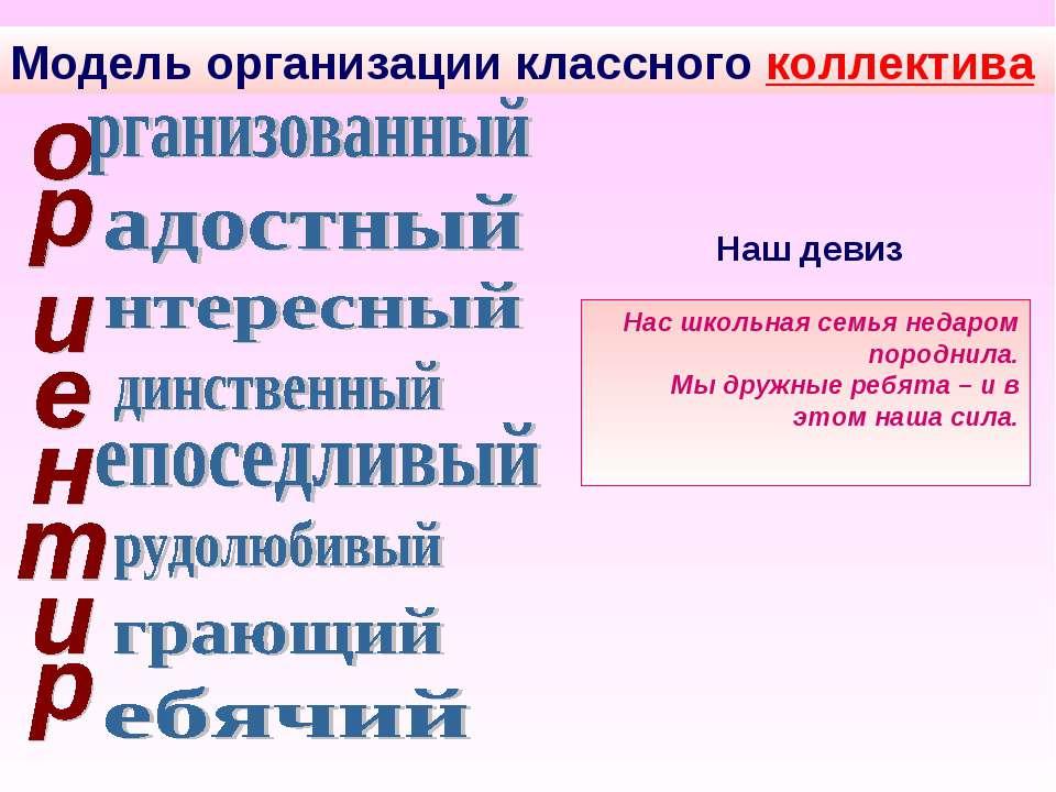 Модель организации классного коллектива Наш девиз Нас школьная семья недаром ...