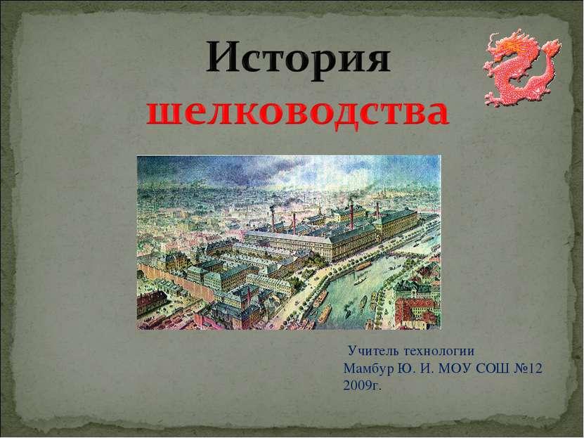 Учитель технологии Мамбур Ю. И. МОУ СОШ №12 2009г.