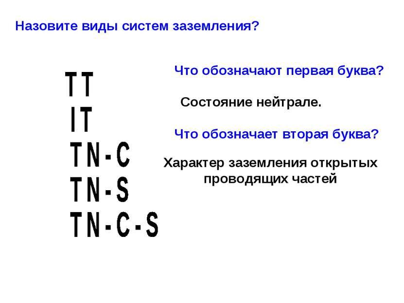 Назовите виды систем заземления? Что обозначают первая буква? Состояние нейтр...