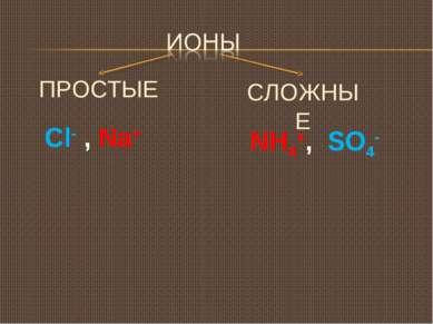 ПРОСТЫЕ Сl- , Na+ СЛОЖНЫЕ NH4+, SO4-