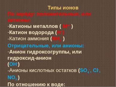Типы ионов По заряду: положительные, или катионы: Катионы металлов ( Мn+ ) Ка...