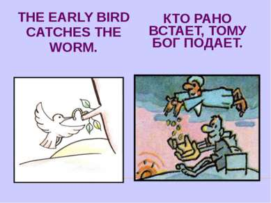 THE EARLY BIRD CATCHES THE WORM. КТО РАНО ВСТАЕТ, ТОМУ БОГ ПОДАЕТ.