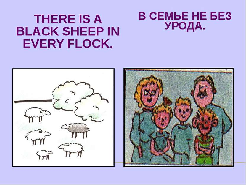 THERE IS A BLACK SHEEP IN EVERY FLOCK. В СЕМЬЕ НЕ БЕЗ УРОДА.