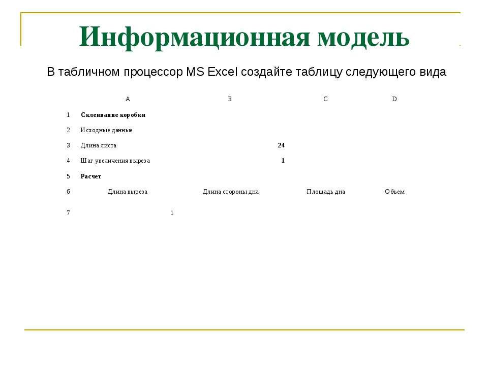 Информационная модель В табличном процессор MS Excel создайте таблицу следующ...