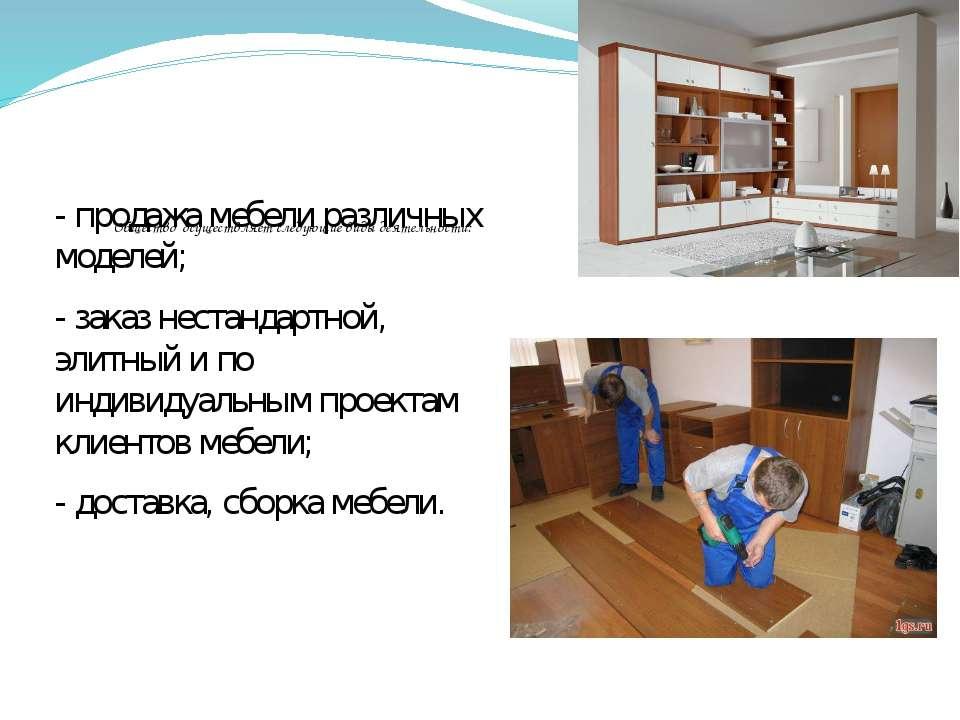 Общество осуществляет следующие виды деятельности: - продажа мебели различны...