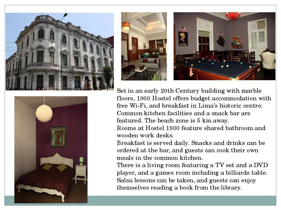 Set in an early 20th Century building with marble floors, 1900 Hostel offers ...