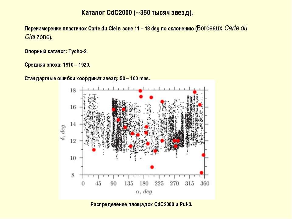 Каталог CdC2000 ( 350 тысяч звезд). Переизмерение пластинок Carte du Ciel в з...