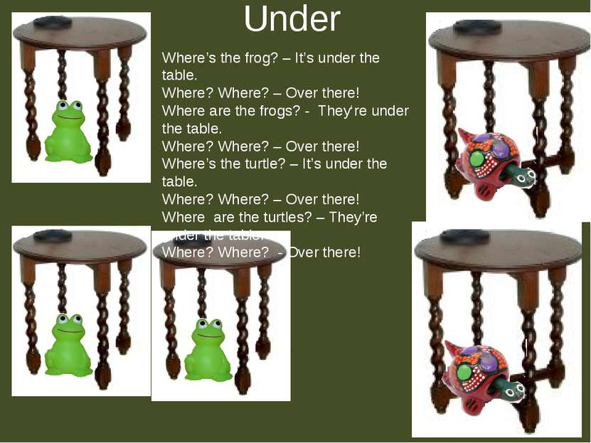 Under Where's the frog? – It's under the table. Where? Where? – Over there! W...