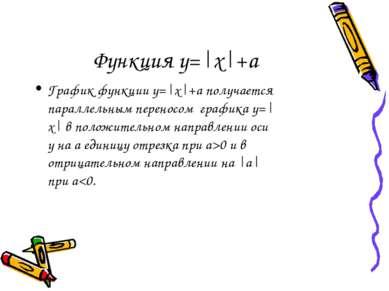 Функция у=|х|+а График функции у=|х|+а получается параллельным переносом граф...